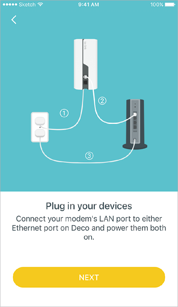 Find and power off your modem. Connect your Mesh WiFi to the modem and power them both on