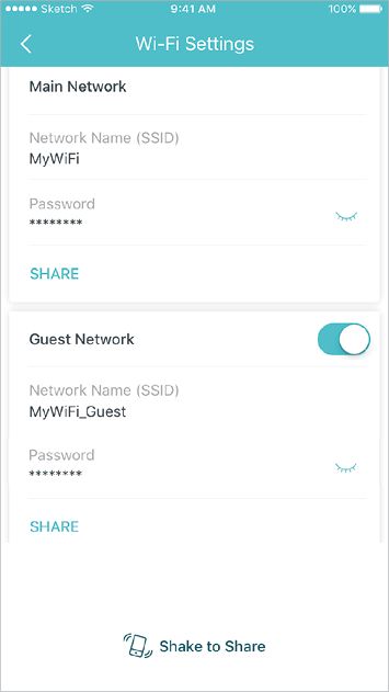 Create a separate network for guests, and shake your device to share the network details easily with family and friends.
