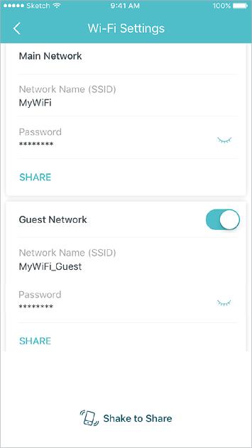 Creëer een apart netwerk voor gasten en schud je apparaat om de netwerkdetails gemakkelijk met familie en vrienden te delen.
