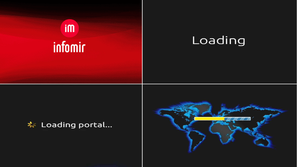After you have connected the HDMI able (to your television), Ethernet cable (to your router) and Power adapter (to your mains power) for the IPTV (in that order), a sequence of loading screens will appear, as seen on the right.