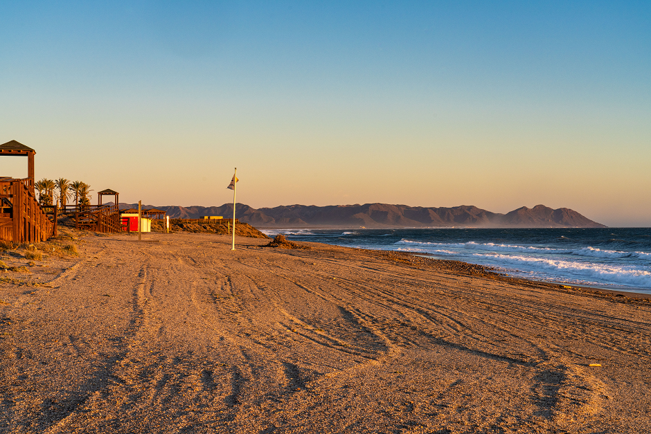 El Toyo, Almeria. The beach is opposite the urbanization created for athletes as accommodation for the Mediterranean Games in 2015.